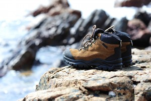 Hiking boots on the rocks