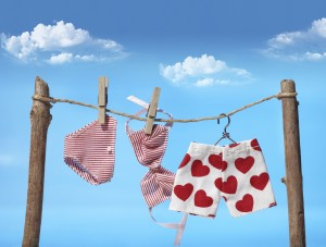 Playful underwear hanging to dry