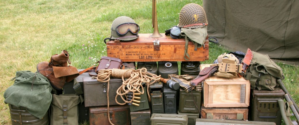 stockpile of military surplus equipment and gear