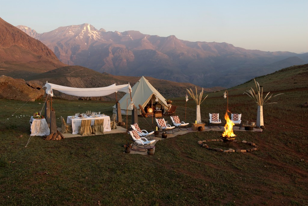Luxury camp site set up in the beautiful mountains