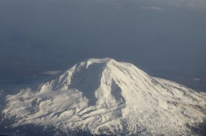 aerial view of snow covered mount adams