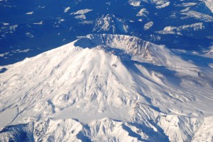 aerial view of snow covered mt st helens