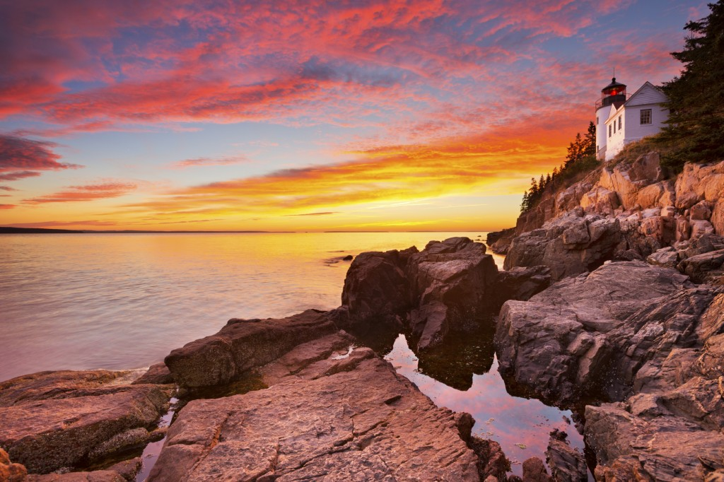 Acadia National Park sunset with lighthouse
