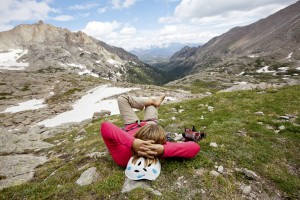 Hiker relaxing in the rocky mountains outside of Denver