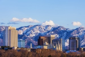 Salt Lake City skyline with wasatch mountains as the backdrop