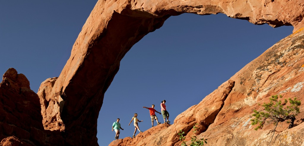 Family hiking at Arches National Park