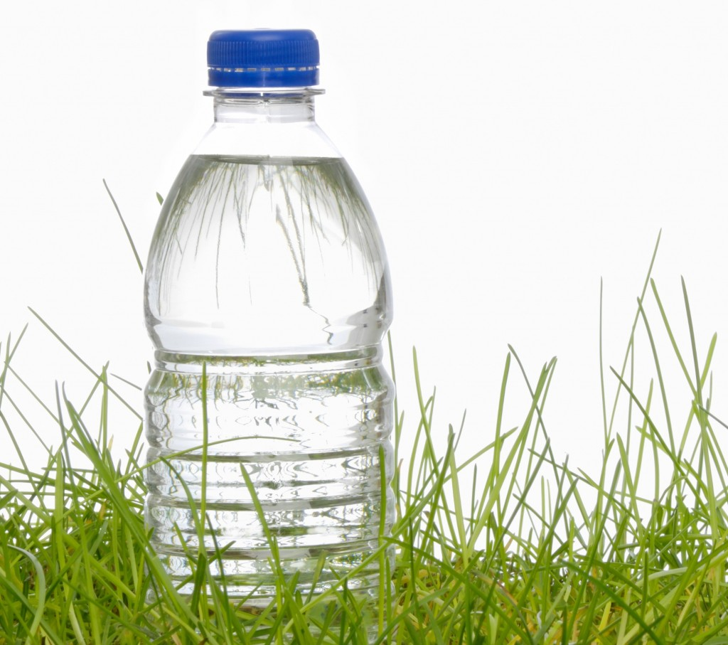 Water bottle  in grass
