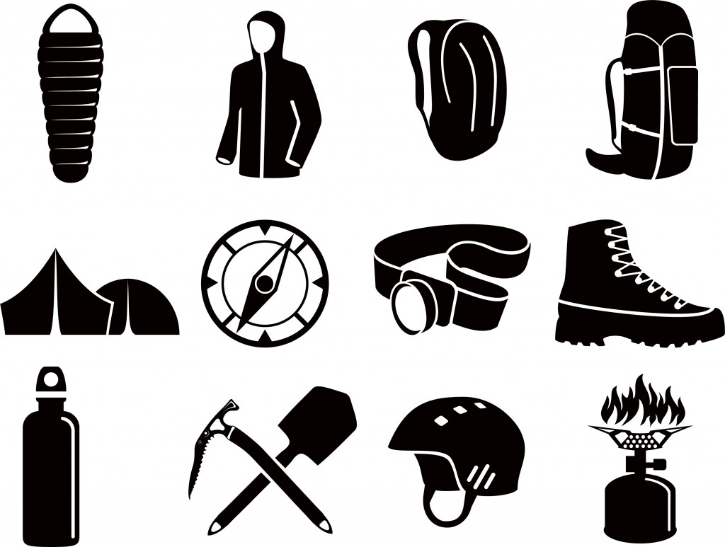 Illustration of various iconic gear items