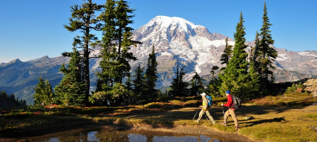 Hikers hiking by water with Mt Rainier in the background