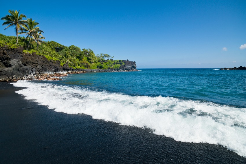 Honokalani Black Sand Beach at Wainapanapa State Park Maui Hawaii
