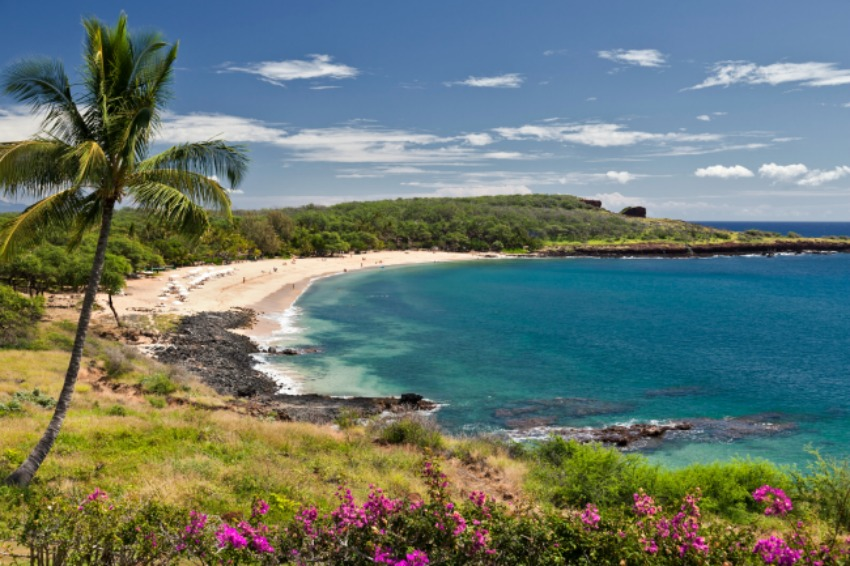 Overview of Manele Bay on Lanai Island Hawaii