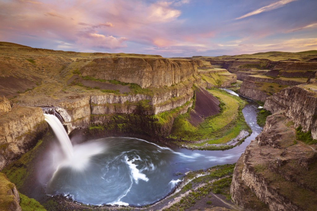 Palouse Falls in Washington after a sunset