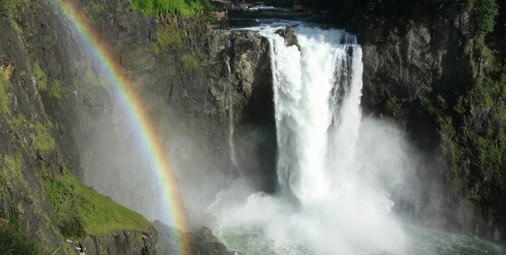Snoqualmie Falls with a rainbow created in its mist