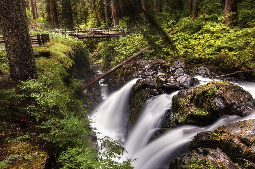 Sol Duc Falls in Olympic National Park with a foot bridge above the falls