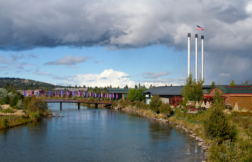 Old Mill District, footbridge and Deschutes River in Bend Oregon